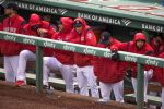 The Red Sox look on from the dugout during a loss. (Photo by Stan Grossfeld/The Boston Globe via Getty Images)