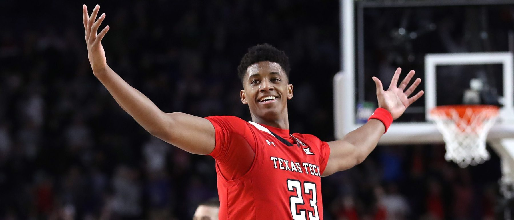 Jarrett Culver #23 of the Texas Tech Red Raiders celebrates during the 2019 NCAA Final Four semifinal Saturday. (Photo by Streeter Lecka/Getty Images)