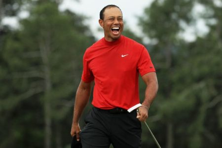 Tiger Woods at the Masters. (Photo by Mike Ehrmann/Getty Images)