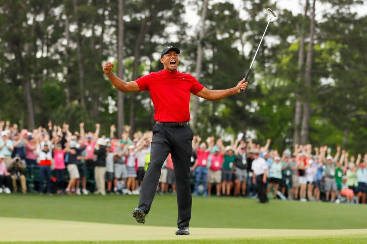 Tiger Woods celebrates his Masters win. (Photo by Kevin C. Cox/Getty Images)