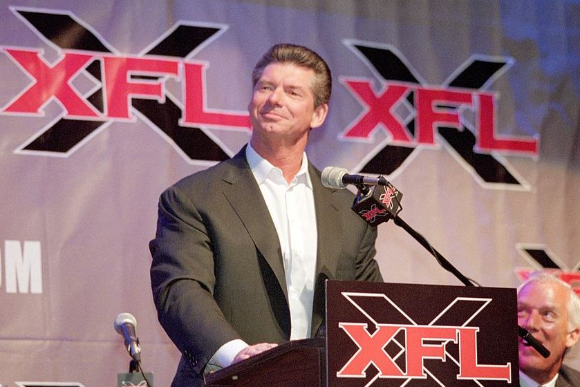Vince McMahon talks at an XFL press conference. (Tom Hauck /Allsport