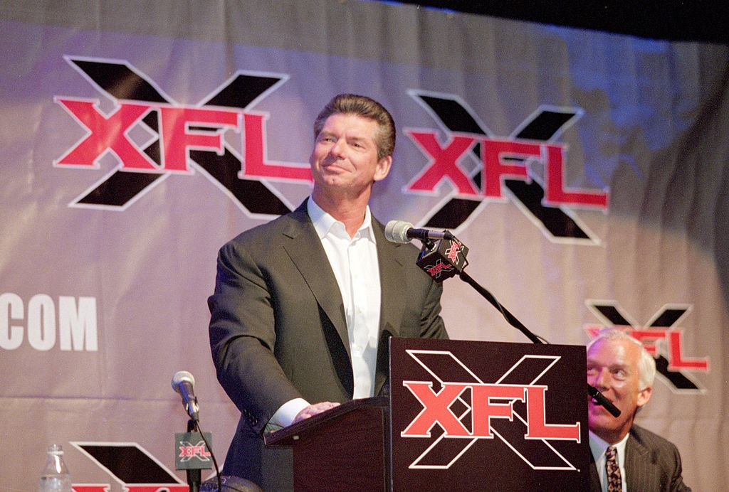 Vince McMahon talks during an XFL press conference. (Tom Hauck /Allsport