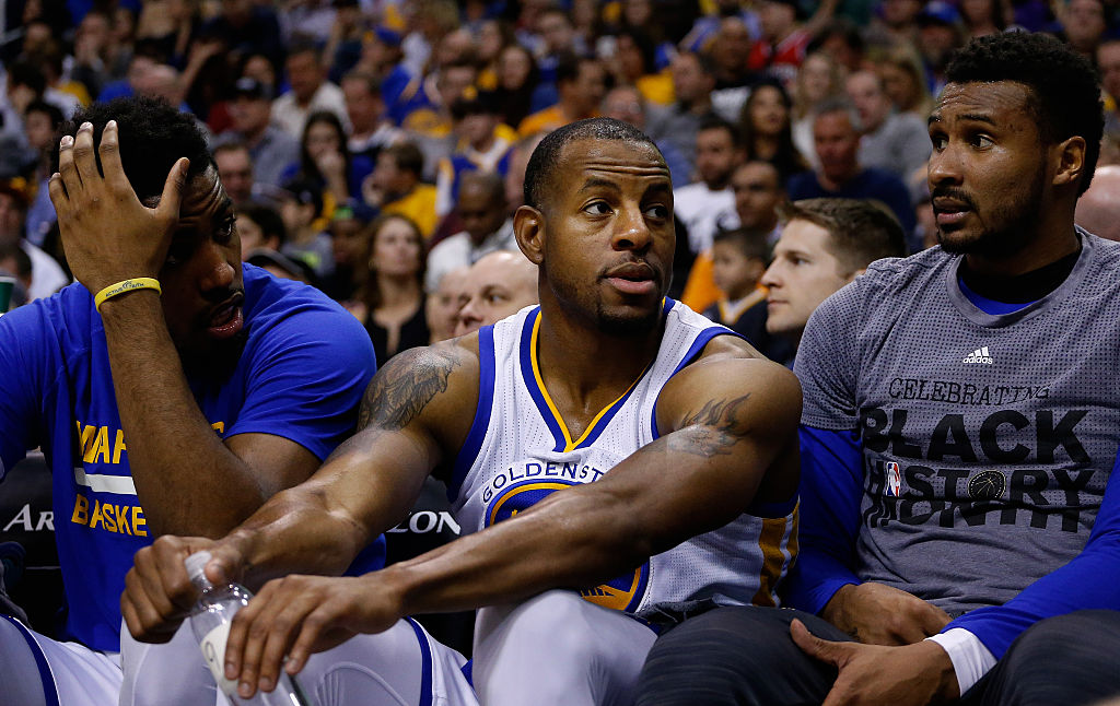 Andre Iguodala (center) of the Golden State Warriors on the bench. (Photo by Christian Petersen/Getty Images)