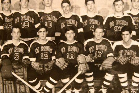 John Kerry, #18, on the hockey team at St. Paul's School in 1962 with Robert Swan Mueller, #12. (Photo by Rick Friedman/Corbis via Getty Images)