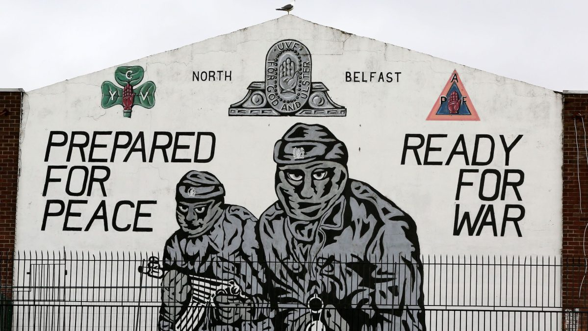 A mural supporting the loyalist Ulster Volunteer Force (UVF) is seen in north Belfast, Northern Ireland, on the 20th anniversary of the Good Friday Agreement on April 10, 2018. (Getty Images/ AFP PHOTO / Paul Faith)