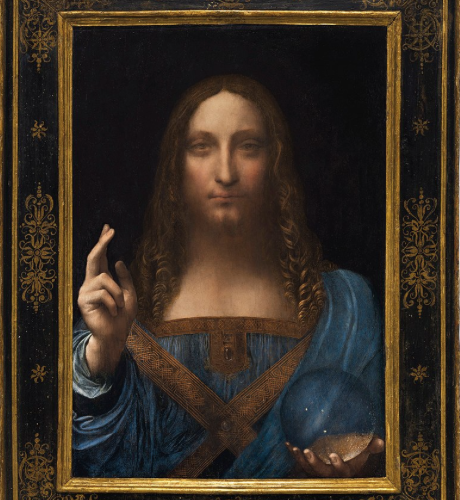 "This painting, ""Salvator Mundi,"" sold for a record $450 million in November 2017, but doubts about its authenticity have now been raised by the UK's National Gallery. (Photo credit: Creative Commons)"