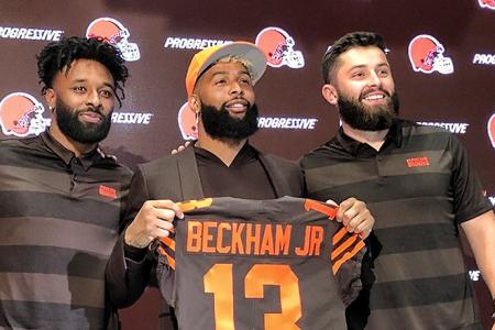 Odell Beckham Jr., Jarvis Landry and Baker Mayfield. (ClevelandBrowns.com)