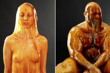 Naked People Covered in Honey