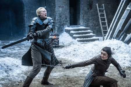 Gwendoline Christie and Maisie Williams in 'Game of Thrones.' (Helen Sloan/HBO)