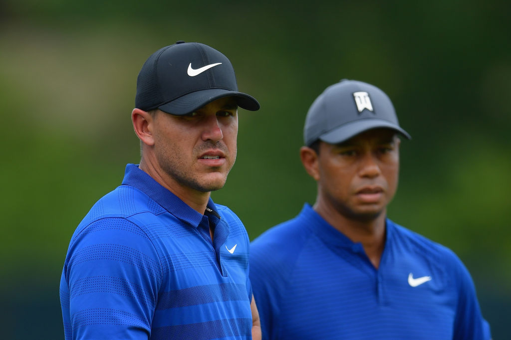 Brooks Koepka and Tiger Woods at the 2018 PGA Championship. (Photo by Stuart Franklin/Getty Images)