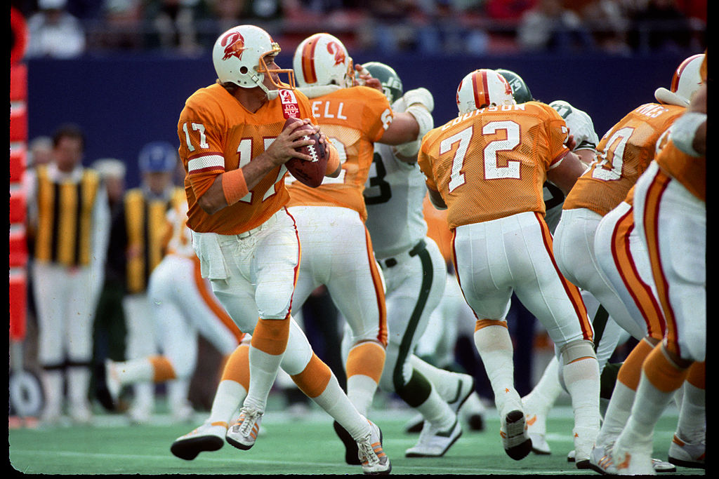 The Tampa Bay Buccaneers wearing creamsicle uniforms in 1985. (George Gojkovich/Getty)