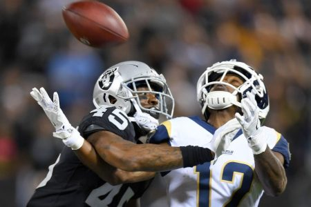 Dominique Rodgers-Cromartie of the Raiders on Brandin Cooks of the Rams. (Thearon W. Henderson/Getty)