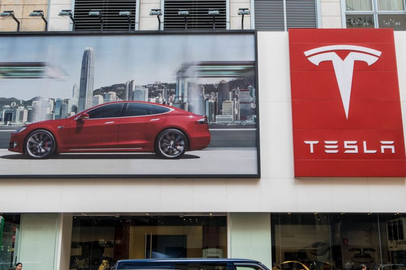The logo of TESLA in Hong Kong. (Alvin Chan/SOPA Images/LightRocket via Getty)