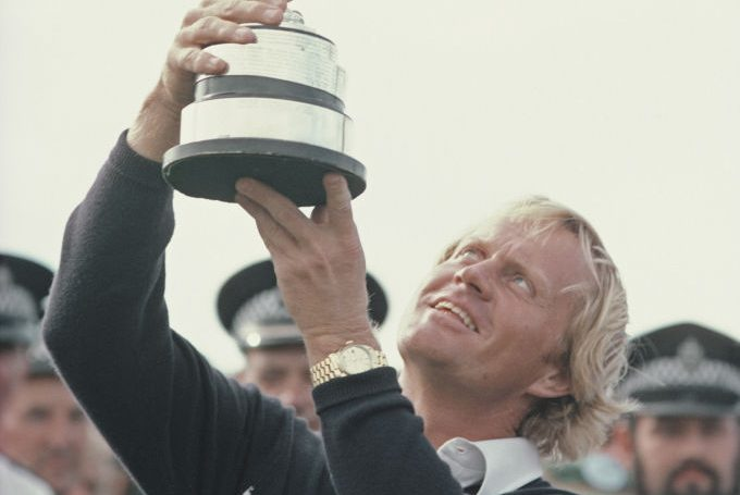 Jack Nicklaus seen wearing his famous Rolex Day-Date Watch. (Steve Powell/Allsport/Getty)