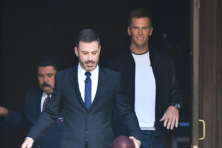 """Jimmy Kimmel and Tom Brady at """"Jimmy Kimmel Live."""" (RB/Bauer-Griffin/GC Images)"""