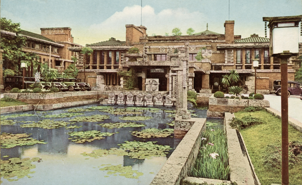The Imperial Hotel Tokyo, designed by Frank Lloyd Wright, demolished in 1968  (Photo by Hulton Archive/Getty Images)