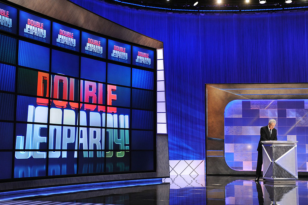 """Alex Trebek rehearses his lines on the """"Jeopardy"""" set in 2010.  (Amanda Edwards/Getty)"""