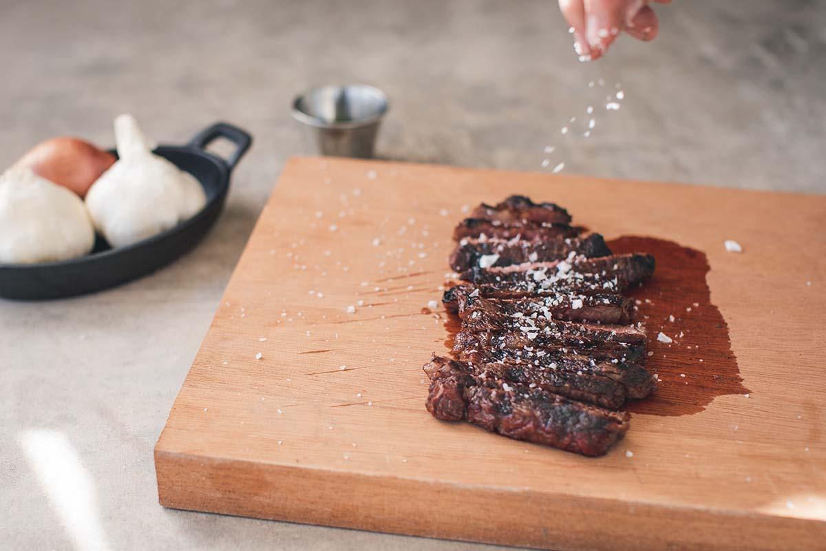 Steak with salt