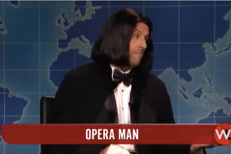 "Adam Sandler reprised his Opera Man character in his return to NBC's ""SNL"" as guest host. (Screenshot: NBC)"