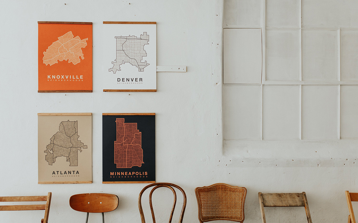 This Knoxville Studio Hand-Prints Maps of American Cities