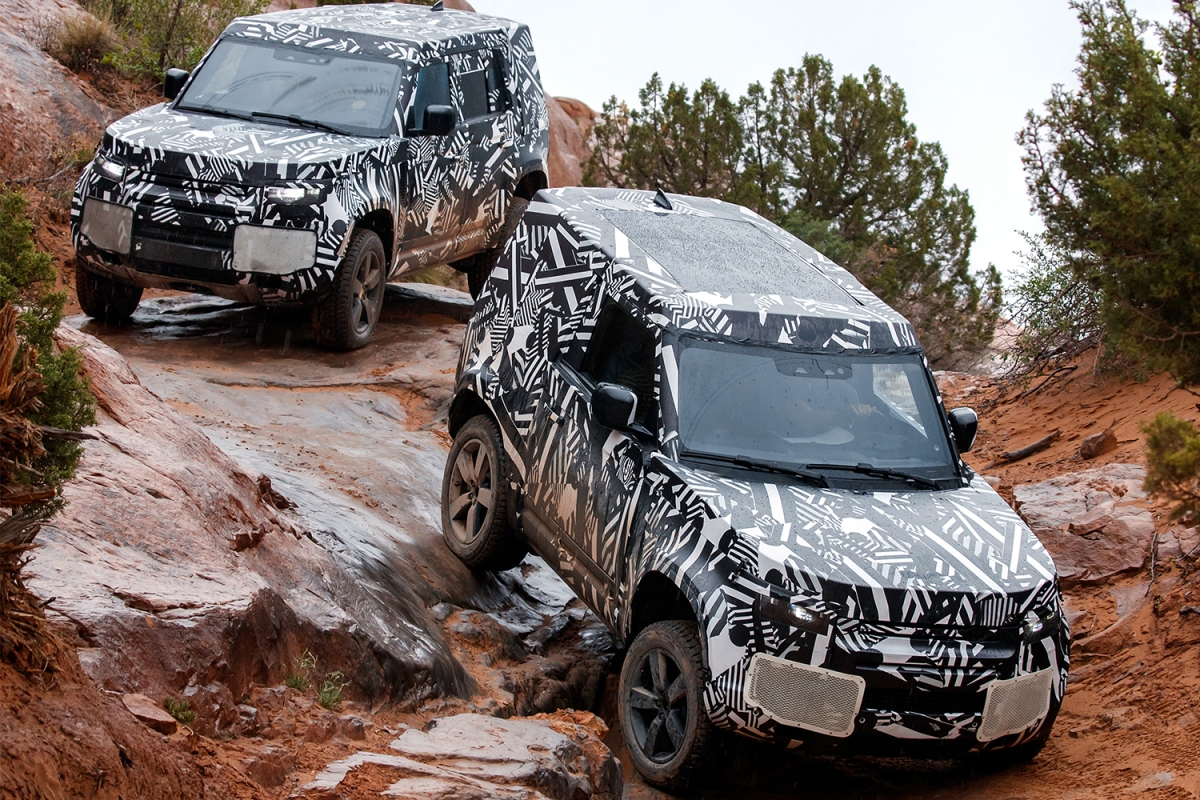 The 2020 Land Rover Defender testing before its world premiere later this year.