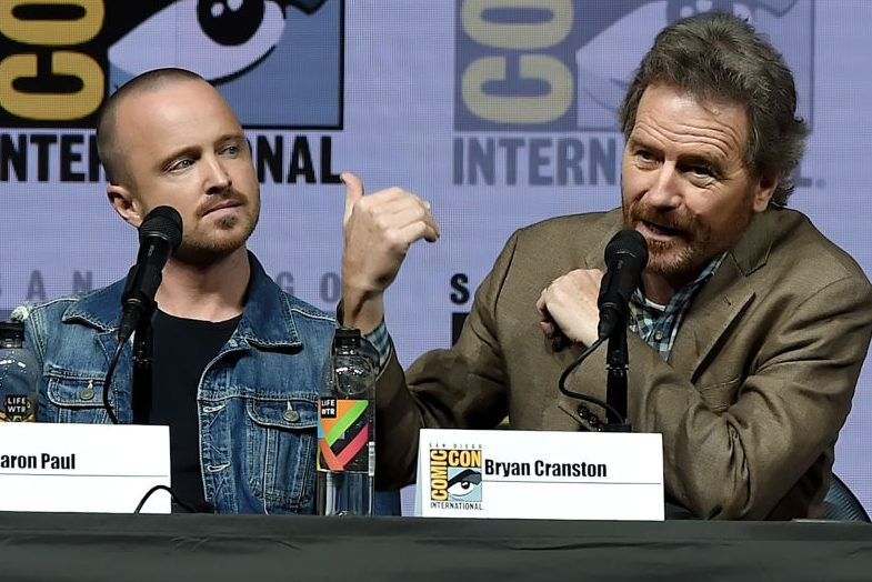 Aaron Paul and Bryan Cranston speak at Comic-Con International 2018. (Kevin Winter/Getty)