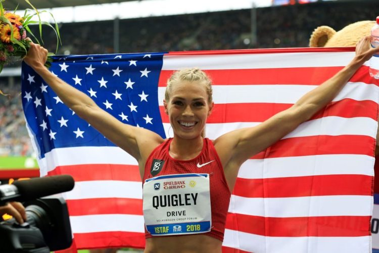 Colleen Quigley after finishing first in the Women's 3000 meters steeplechase during the ISTAF 2018 Athletics Meeting. (Abdulhamid Hosbas/Anadolu Agency/Getty)