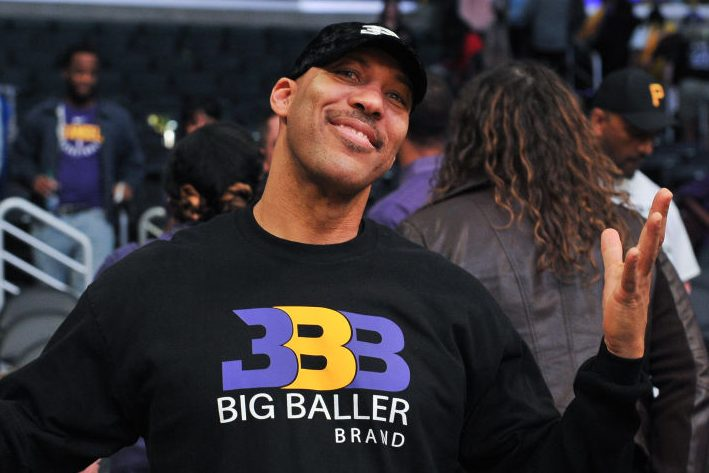 LaVar Ball attends a Los Angeles Lakers game. (Allen Berezovsky/Getty)
