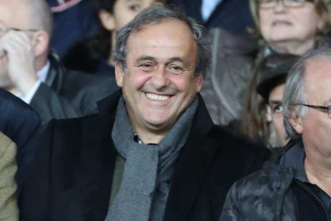Michel Platini attends a French Ligue 1 match. (Xavier Laine/Getty)