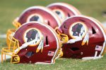 Football helmets on the field at the Washington Redskins training camp