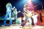Led Zeppelin perform on stage during their 1972 American Tour. (Jeff Hochberg/Getty Images)