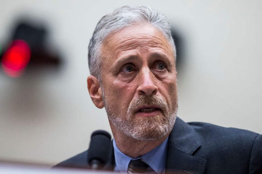 Jon Stewart testifies during a House Judiciary Committee. Zach Gibson/Getty)
