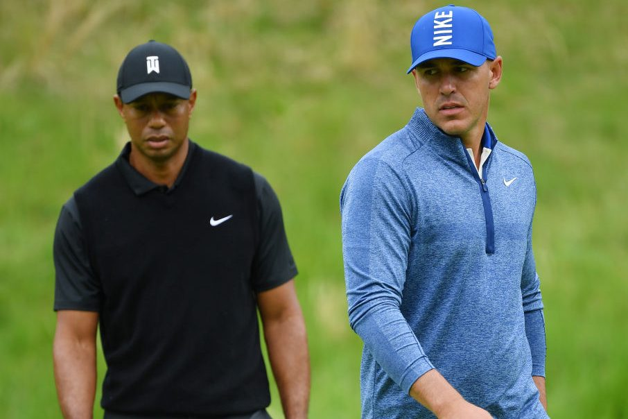Brooks Koepka and Tiger Woods at the 2019 PGA Championship. (Stuart Franklin/Getty)