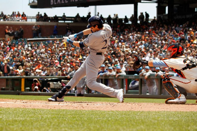 Milwaukee Brewers outfielder Christian Yelich takes a big cut. (Larry Placido/Icon Sportswire via Getty)
