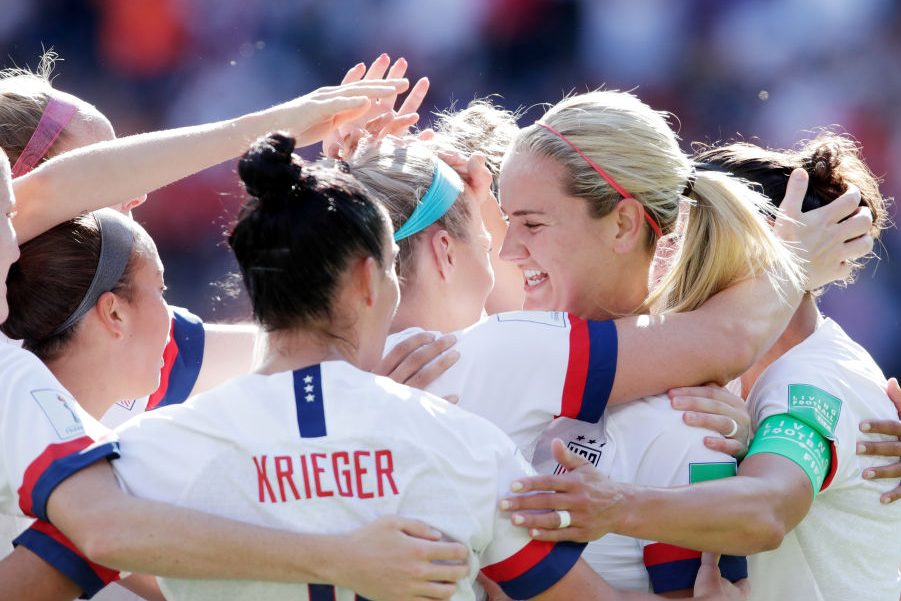Julie Ertz of celebrates a goal. (Eric Verhoeven/Soccrates/Getty)