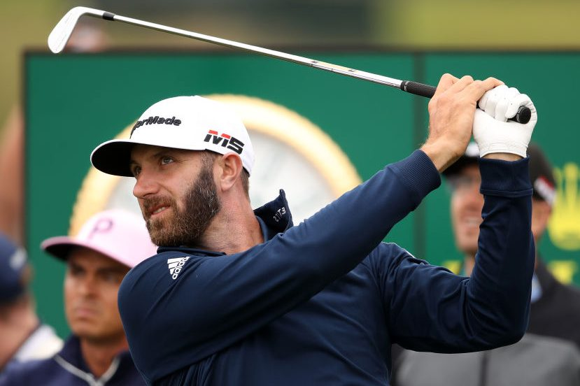 Dustin Johnson plays during a practice round. (Christian Petersen/Getty)