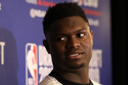 Zion Williamson speaks ahead of the NBA Draft. (Mike Lawrie/Getty)