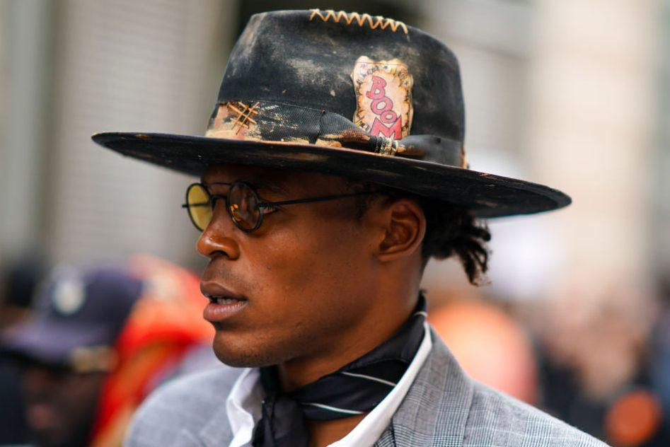 Cam Newton is seen during Paris Fashion Week. (Edward Berthelot/Getty)