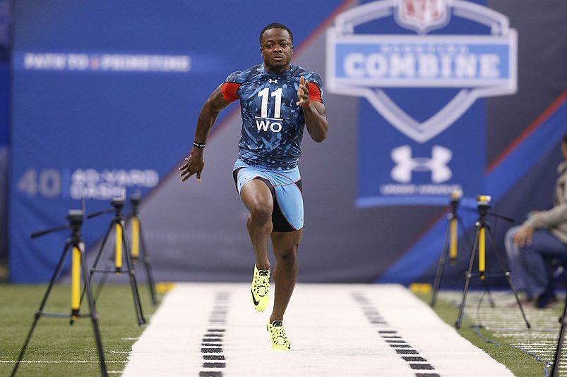 Marquise Goodwin runs the 40-yard dash at the 2013 NFL Combine.( Joe Robbins/Getty)