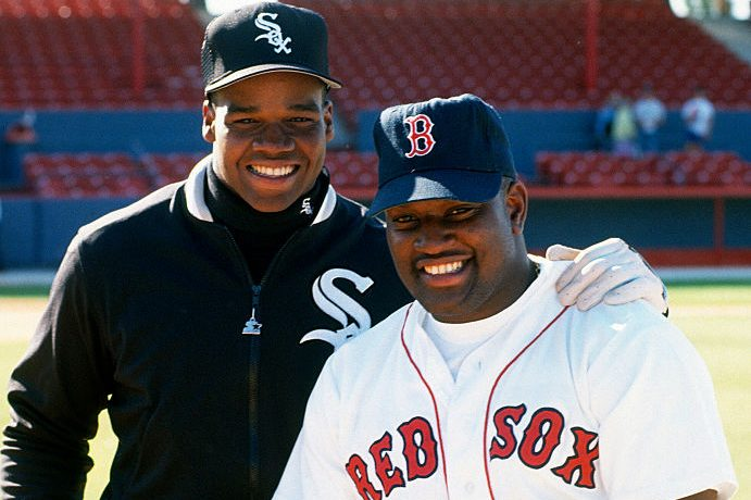 Mo Vaughn and Frank Thomas in 1996. (Focus on Sport/Getty)