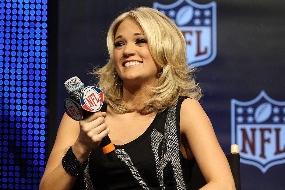 Carrie Underwood before Super Bowl XLIV. (Elsa/Getty)