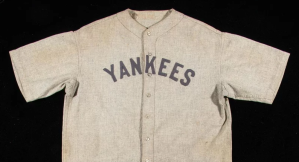 The rare Babe Ruth jersey which will be sold at auction. (Hunt Auctions)