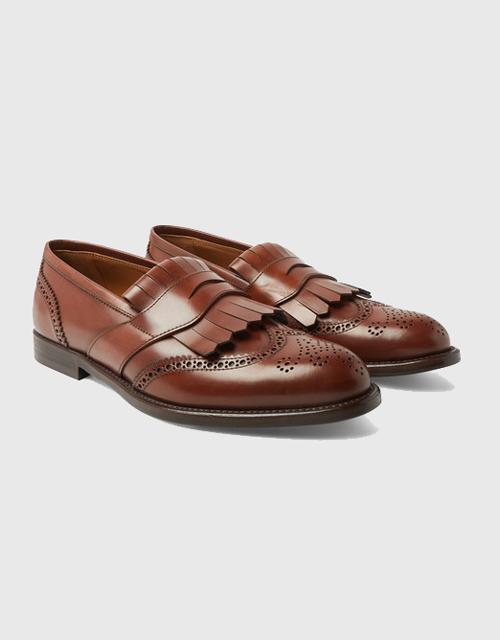 Brunello Cucinelli Brogue-Detailed Leather Kiltie Loafer
