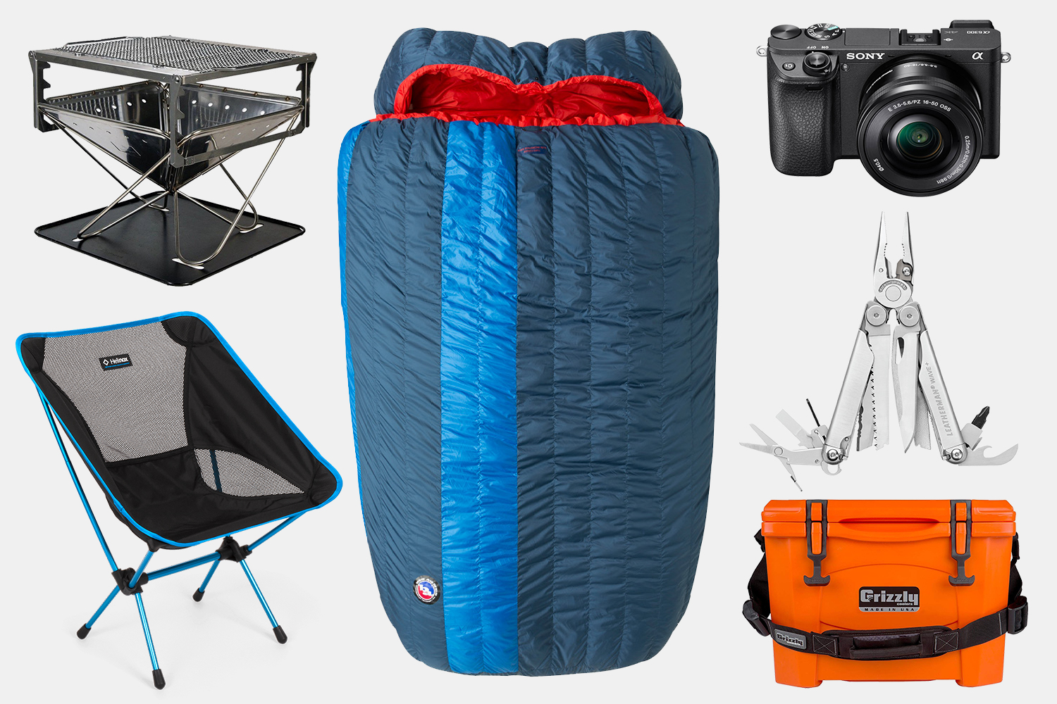 A camp stove, Helinox camp chair, double sleeping bag, digital camera, Leatherman multitool and orange cooler, all part of the car camping gear Brock Keen brings when adventuring in his Porsche 996 C4S