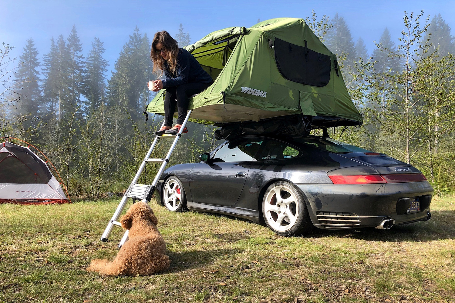 Car Rooftop Tent Camping in a Porsche 996