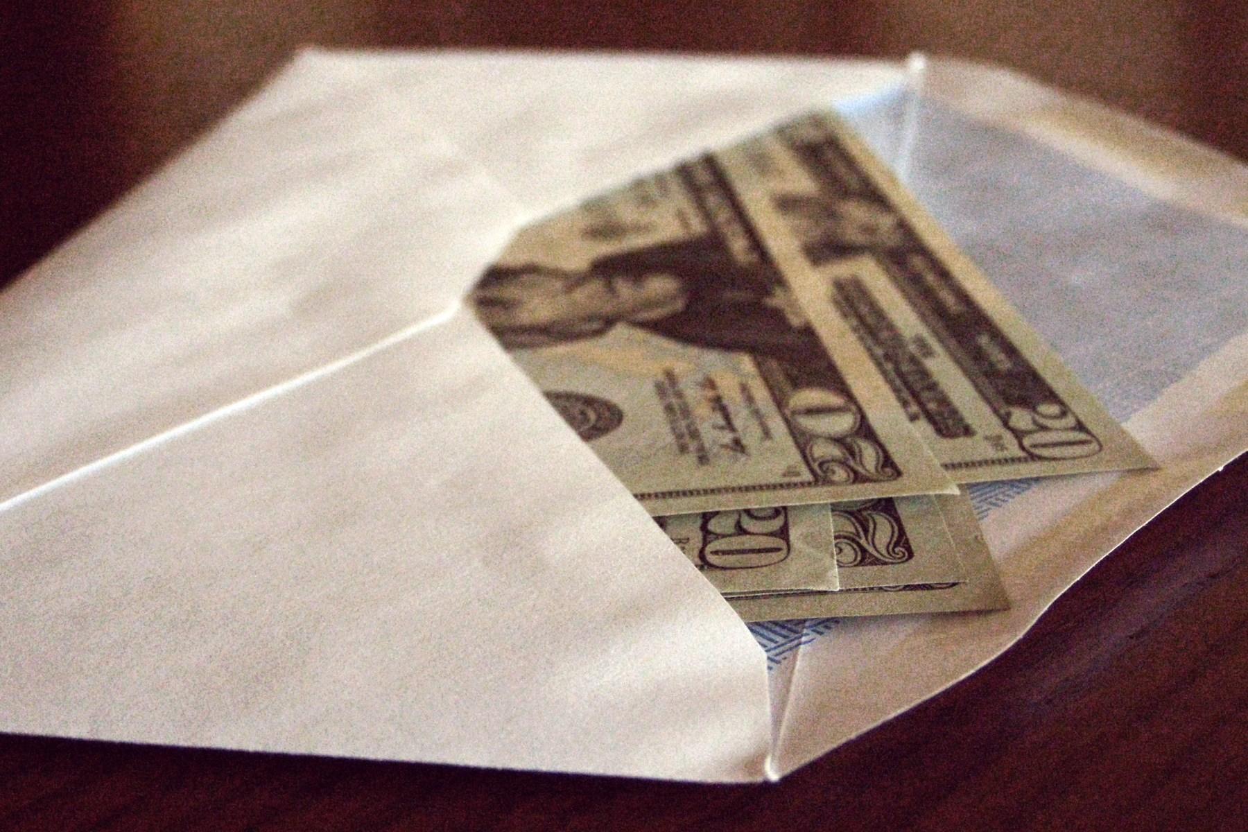 Envelope full of money