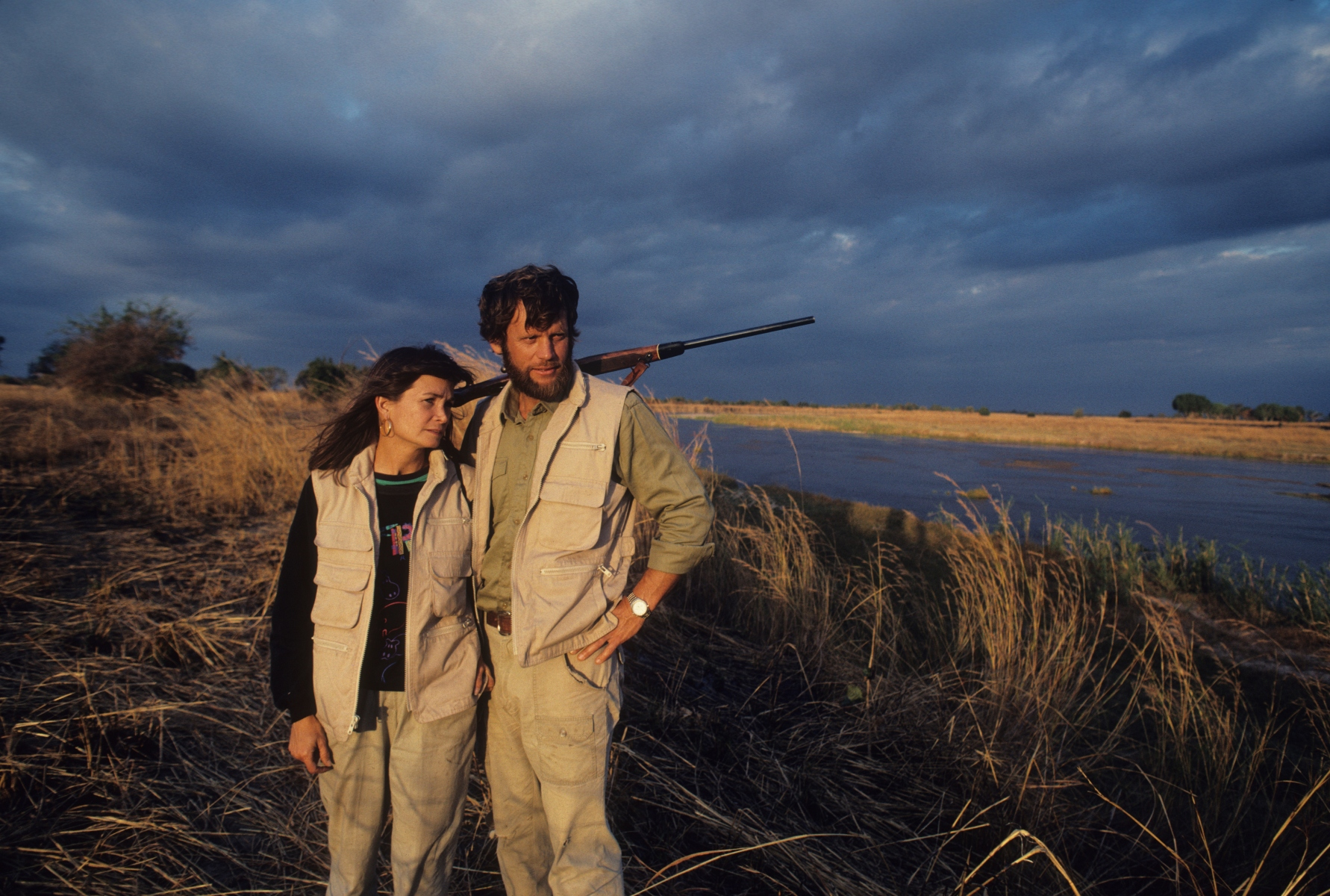 Bestselling author, Delia Owens, and her then-husband in Zambia