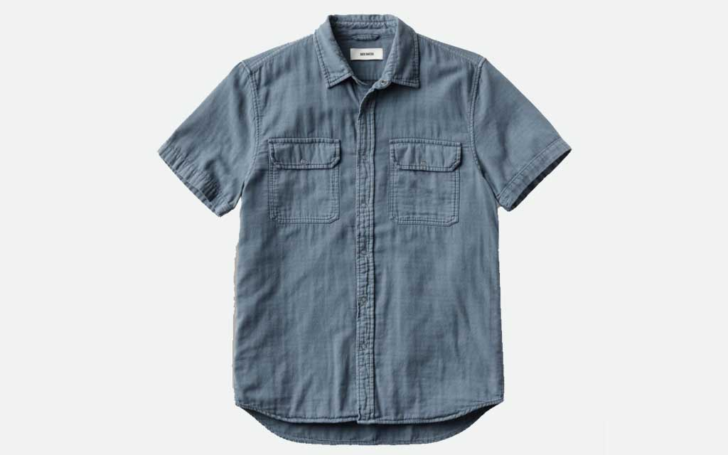 Buck Mason Faded Blue Double Weave  S/S Vintage Two Pocket Shirt