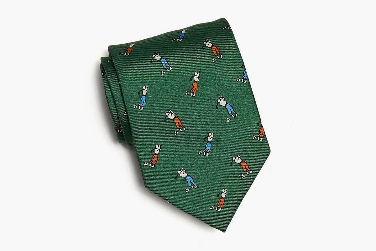 Drakes Golf Player Print Silk Tie