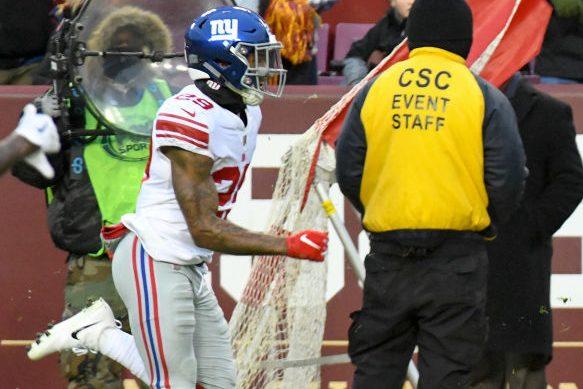 New York Giants cornerback Kamrin Moore in 2018. (Mark Goldman/Icon Sportswire via Getty)
